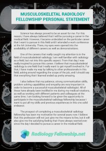 musculoskeletal radiology fellowship personal statement sample